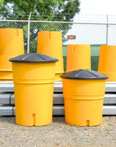 Work Zone Protection, Drums and Barrels, 2100 Lb. Sand Attenuator w/ Lid (left), 1400 Lb. Sand Attenuator w/ Lid (right)