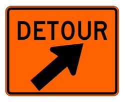 Construction Sign M4-9XR Detour Slight Right Signs