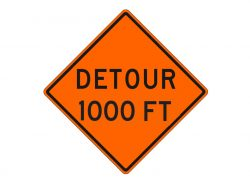 Construction Sign W20-2b Detour 1000 FT