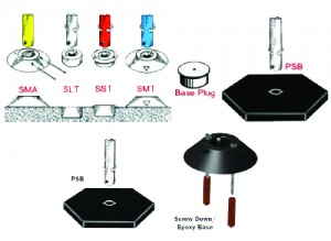 surface mount and twist lock base assemblies