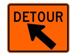 Construction Sign M4-9XL Detour Slight Left