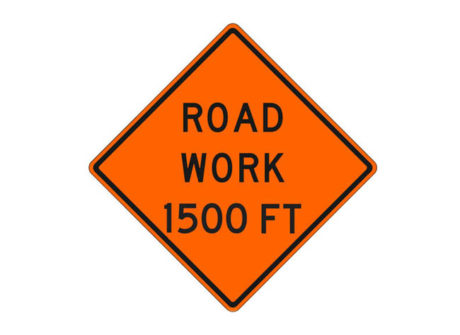 Construction Sign Road Work 1500 Feet