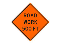 Construction Sign Road Work 500 Ft