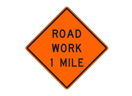 Construction Sign W20-1g Road Work 1 Mile