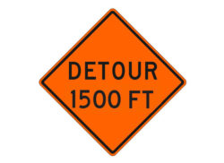 Construction Sign W20-2a Detour 1500 FT