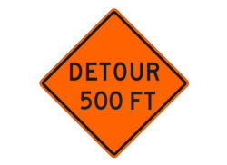 Construction Sign Detour 500 FT