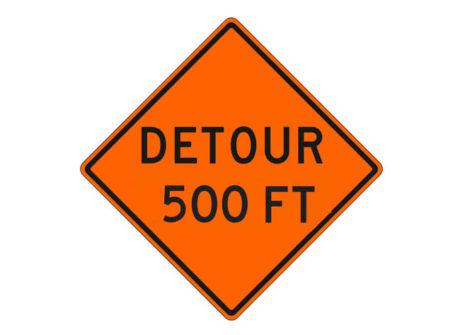 Construction Sign Detour 500 FT