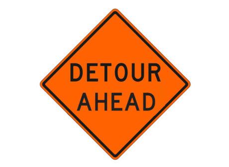 Construction Sign Detour Ahead