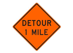 Construction Sign W20-2g Detour 1 Mile