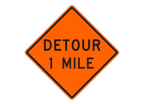 Construction Sign W20-2g Detour 1 Mile