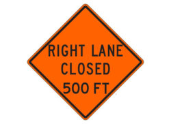 Construction Sign W20-5c(R) Right Lane Closed 500 FT