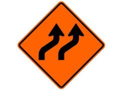 Construction Sign W24-L(mod) Lane Shift (Symbol)