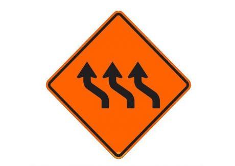 Construction Sign W24-1RR(mod) Right Lane Shift (Symbol)
