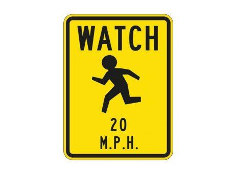 W9-14 Watch Children 20 MPH
