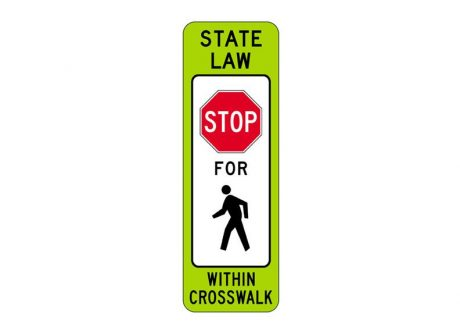 R1-6a State Law Stop for Pedestrian Within Crosswalk