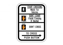 R10-3bR Push Button Cross Sign (Right)