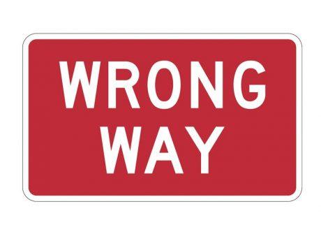 R5-1a Wrong Way Sign