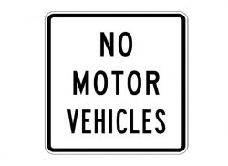 R5-3 No Motor Vehicles Text Sign