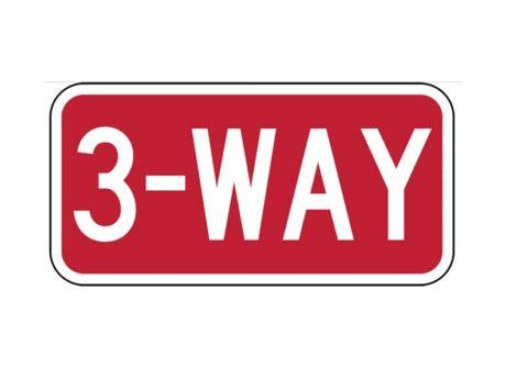 R1-3 (3) Way Sign