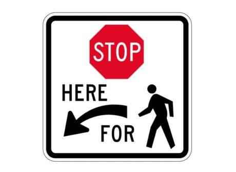 R1-5bL Stop Here For Pedestrians Left Sign