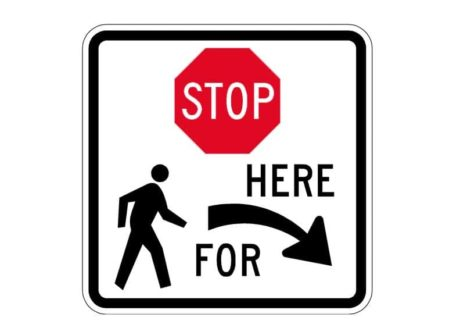 R1-5bR Stop Here For Pedestrians Right Sign