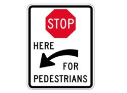 R1-5cL Stop Here for Pedestrians Left Arrow Sign