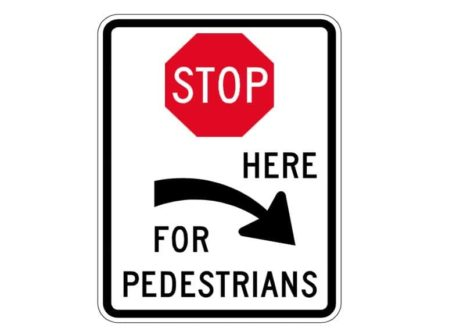 R1-5cR Stop Here for Pedestrians Right Arrow Sign